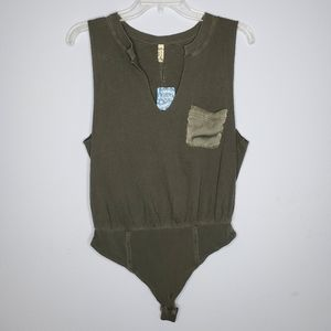 Free People Tops - Free People Gray In Your Pocket Bodysuit